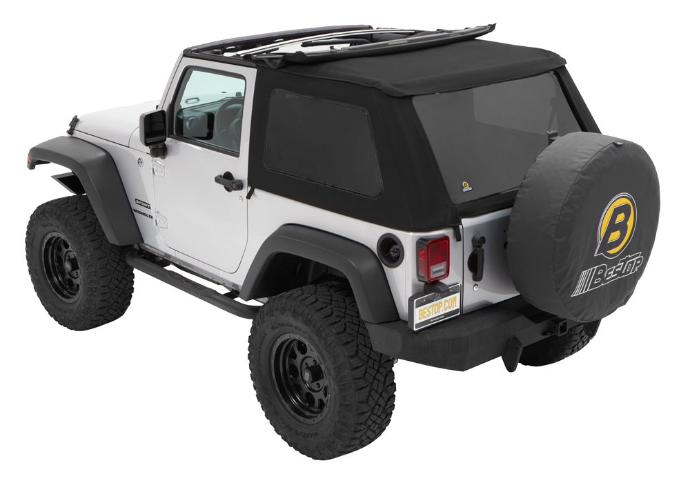 Bestop 56922-17 Black Twill TrekTop NX Complete Frameless Replacement Soft Top with Sunrider Sunroof Feature for 2007-2018 Wrangler 2-Door by Bestop