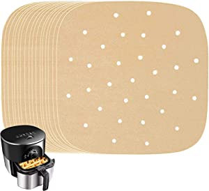 200 Pcs Air Fryer Parchment Paper 8.5 Inch Square Unbleached Air Fryer Filter Paper,Bamboo Steamer Paper for Air Fryer,Cake Pan,Steaming Basket,Baking,Ovening