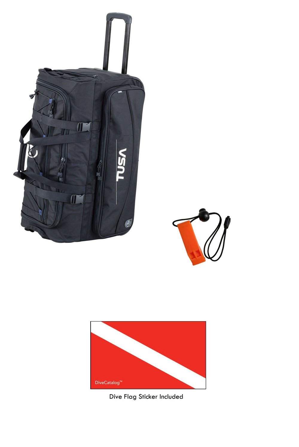 TUSA Dive Gear Roller Duffle Bag in Black & DiveCatalog's Orange Whistle w/Lanyard & Dive Flag Sticker by TUSA