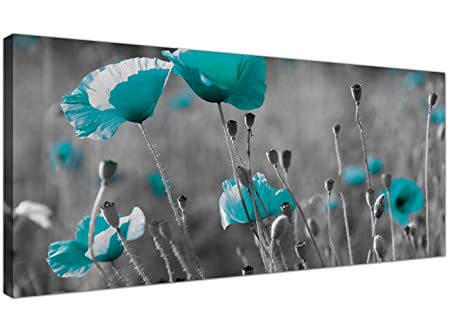 Wallfillers modern black and white canvas prints of teal poppies wide turquoise floral wall art