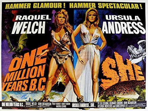 Posterazzi One Million Years B.C. 1966 She 1965 from Left: Raquel Welch Ursula Andress Us Lobbycard Movie Masterprint Poster Print, (14 x 11) from Posterazzi