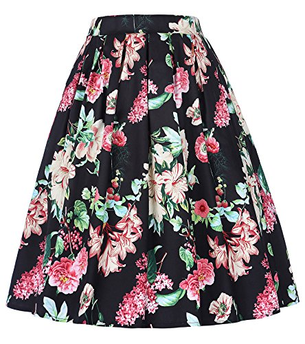 GRACE KARIN Women's Pleated Knee Length A-line Skirt,Small,Floral 401-4