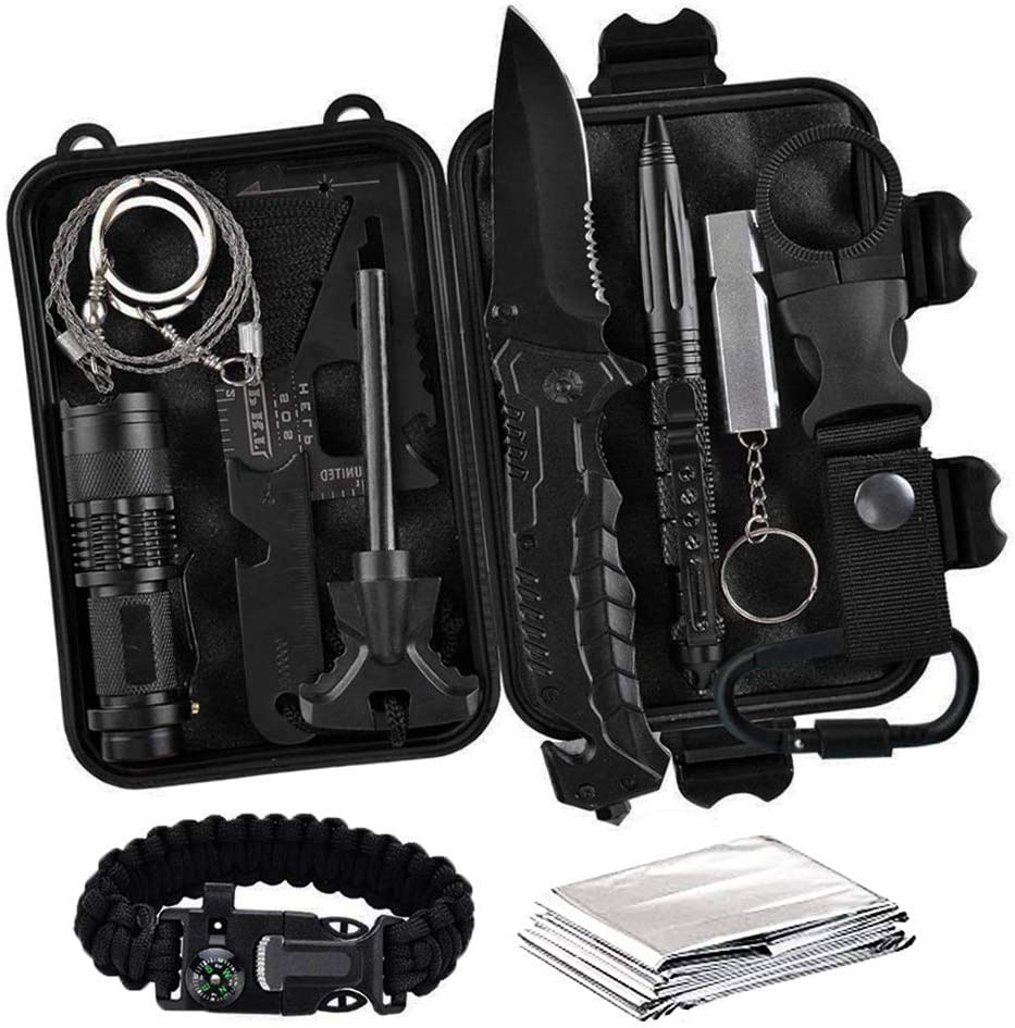 Survival Gear Kit - 13-In-One Emergency Compact Bugout Gear & Tools: Knife, Paracord, Multi-Tool, Fire Starter, Saw, Tactical Pen, Whistle, Flashlight, Blanket, Black Waterproof Case & More