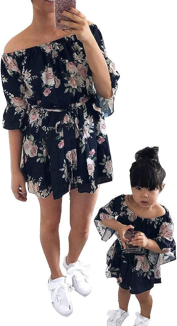 Loalirando Madre e Figlia Abiti Estivi Stampa Floreale Abiti Famiglia Senza Spalline Corti Vestito Principessa Bambina Vestito Donna Eleganti