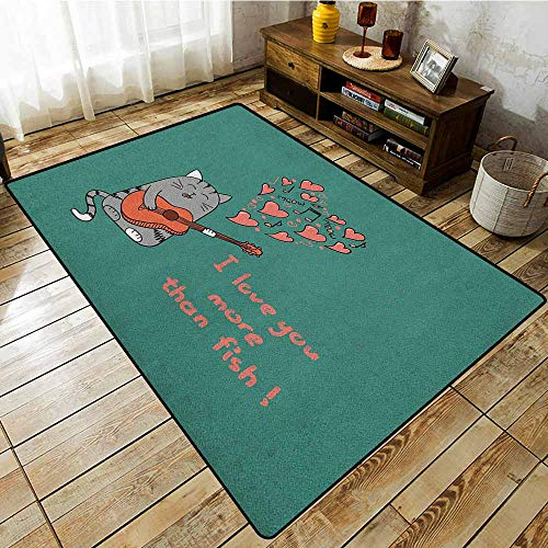 Indoor/Outdoor Rug,I Love You More,Cartoon Singing Cat with Guitar More Than Fish Song Music Notes and Hearts,Rustic Home Decor,6'6
