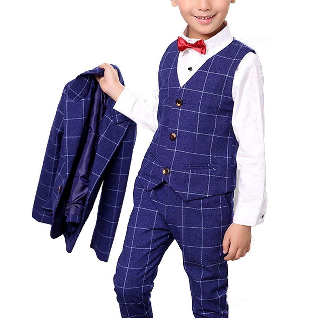 Amazon.com: yufan niños azul Suit Set con rejilla 3 piezas ...