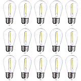 Jslinter 15-Pack S14 1W Outdoor String Lights Bulbs LED, Shatterproof & Waterproof, UL Listed, 2700K Soft White, 11W…