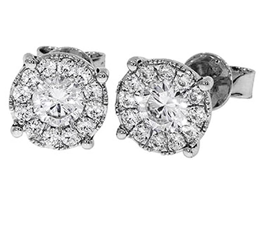 Cubic Zirconia Accented 3//8 Inch Solid Sterling Silver Round Stud Earrings E98148
