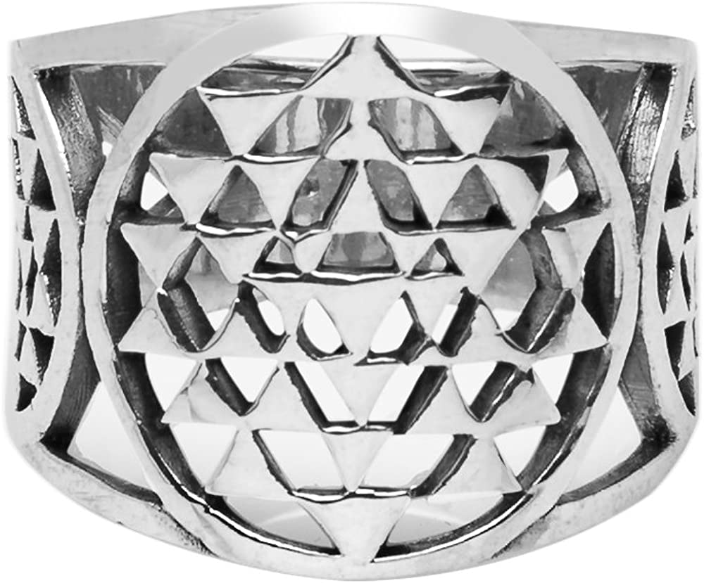 925 Sterling Silver Sri Yantra Sacred Geometry Talisman Unisex Large Band Ring 6, 7, 8