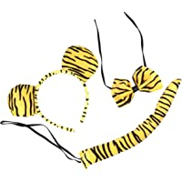 FRCOLOR 2 Sets Kids Tiger Costume Tiger Ear Headband Bow Tie and Tail Party Cosplay Animal Outfit Dress Up for Children