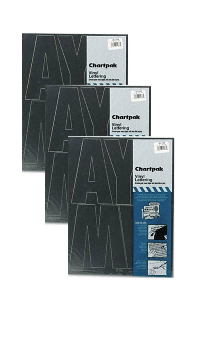 Chartpak 6-inch Black Stick-on Vinyl Capital Letters (01184), 3 PACKS