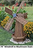 Amish-Made Working Dutch Windmill Yard Decoration 74'' Tall, Mushroom Stain