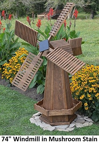 Amish Made Working Dutch Windmill Yard Decoration 60u0026quot; Tall, Mushroom  Stain