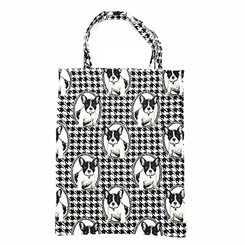 Signare Tapestry Women Fabric Reusable Foldable Shopping Bag by Signare Butterfly (ECO-BUTT) French Bulldog