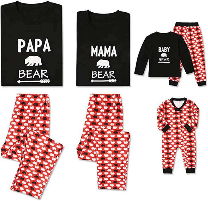 bb8ebf8420 PatPat Family Matching Pajamas Set Papa Mama Baby Bear Letter Printed Two  Pieces Pjs Sleepwear for