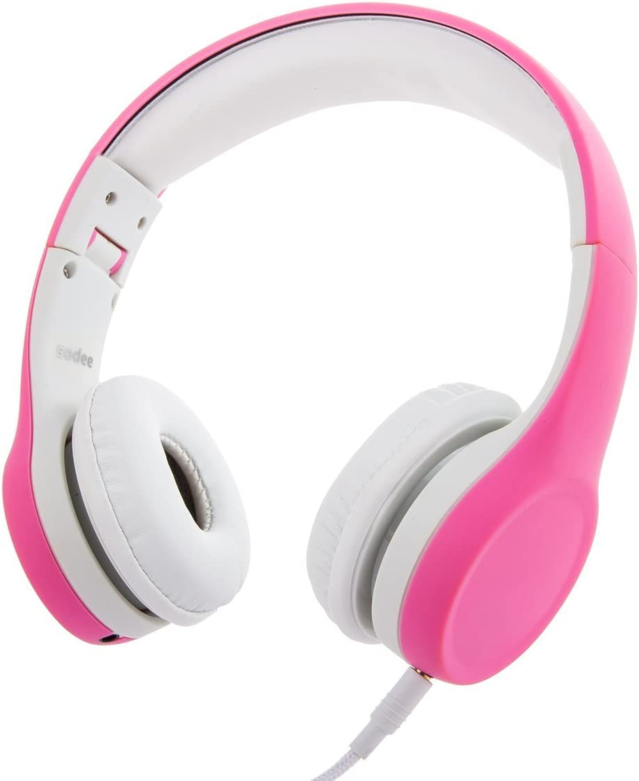 Kids Headphones Volume Limited On Ear Headphones for Kids with Music Sharing Pink