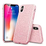 "ESR iPhone X Case, Bling Glitter Sparkle Three Layer Shockproof Soft TPU Outer Cover [Support Wireless Charging] + Hard PC Inner Cover 5.8"" iPhone X(2017 Release)(Rose Gold)"