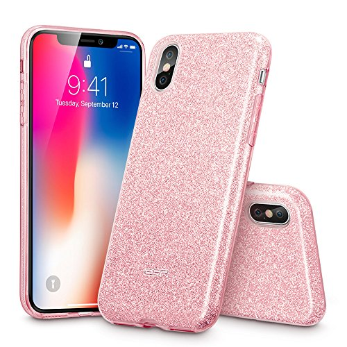 "Price comparison product image iPhone X Case,  ESR Glitter Sparkle Bling Case [Three Layer] for Girls Women [Supports Wireless Charging] for Apple 5.8"" iPhone X / iPhone 10 (2017 Release)(Rose Gold)"