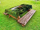 Ambesonne Landscape Outdoor Tablecloth, Majestic Twin Wailua Waterfalls Kauai Hawai Greenery Forest Grass Nature Scenic View, Decorative Washable Picnic Table Cloth, 58 X 120 inches, Green