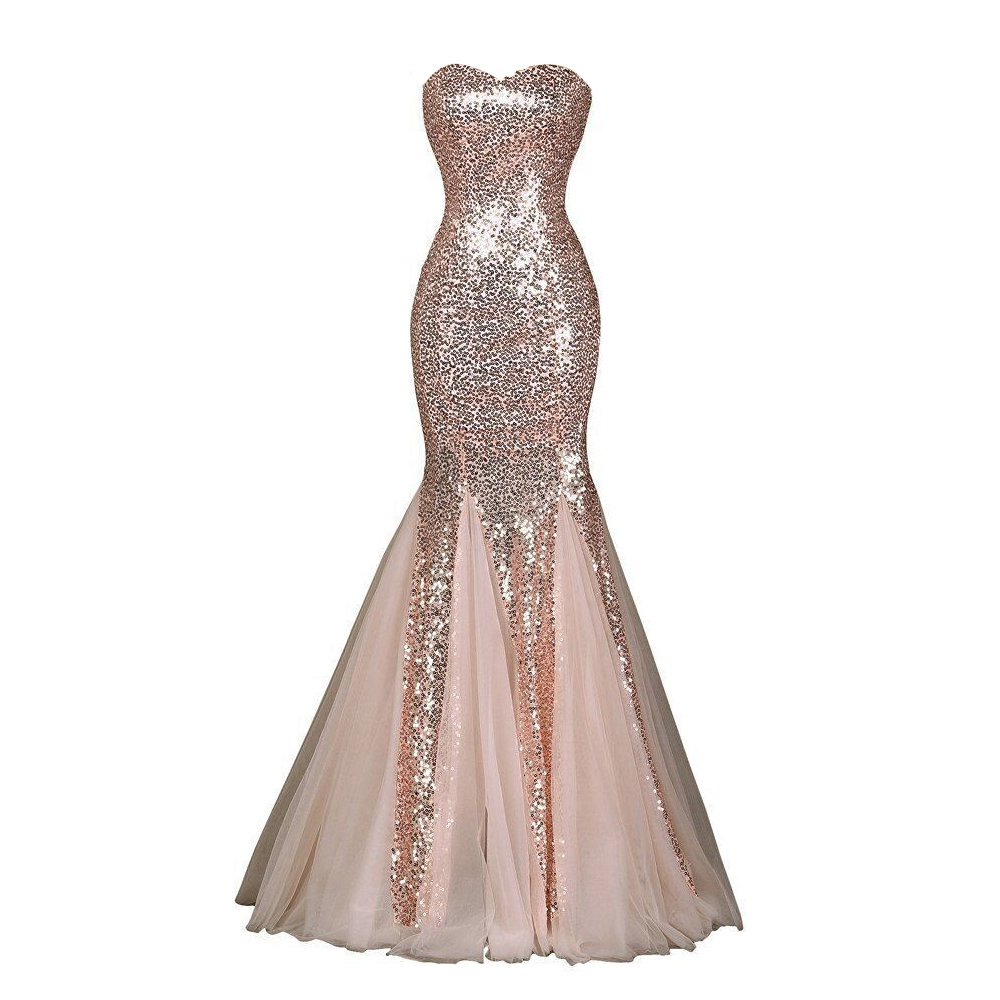 JASY Multi Style Rose Gold Sequined Mermaid Prom Dresses Long Bridesmaid Dresses for Women Available