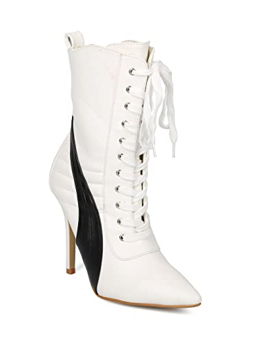 60a97d5f1c7 Alrisco Women Pointy Toe Sports Stripe Lace Up Stiletto Ankle Boot HF43