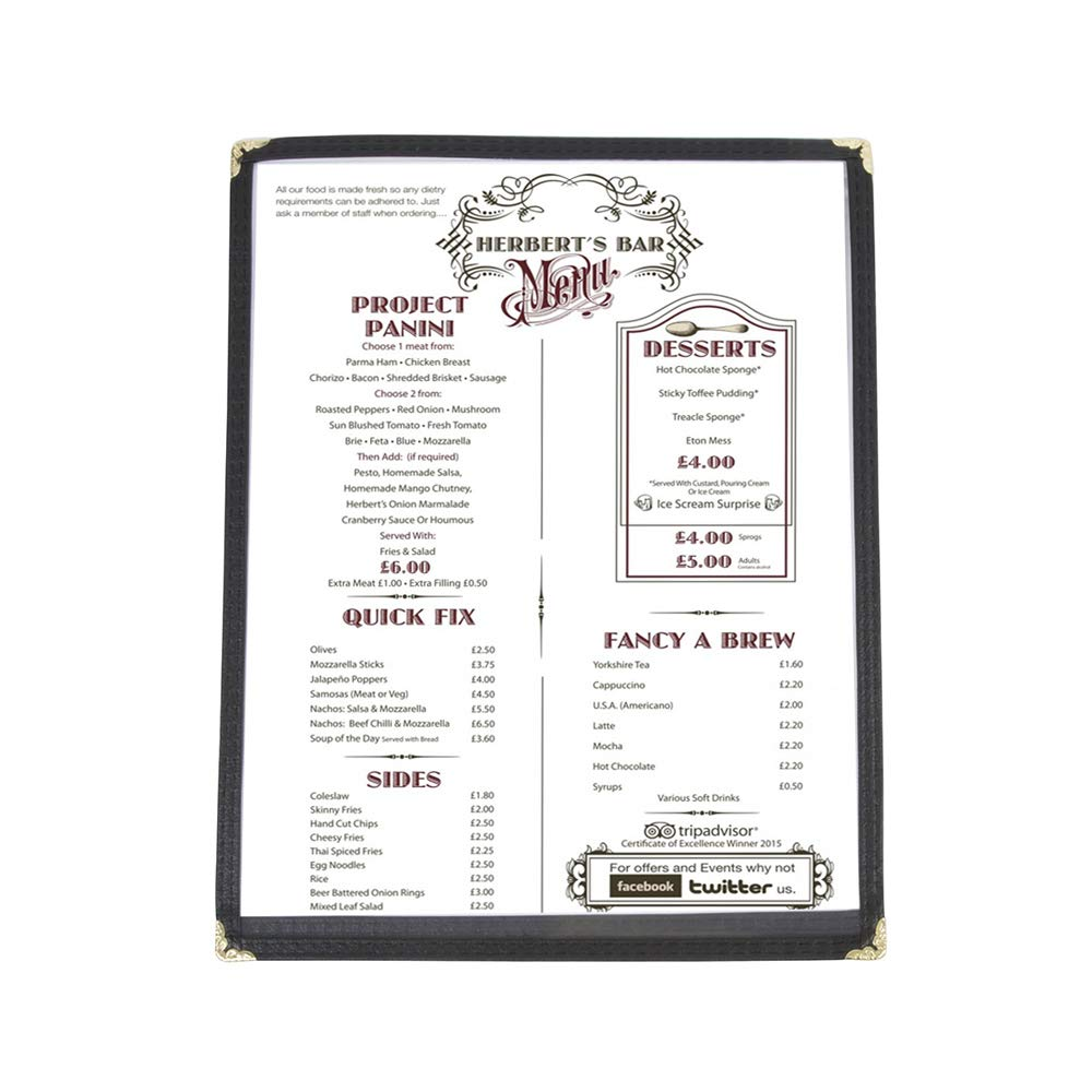 (60 Pack) Single Menu Covers, Black, 8.5 x 11-inches Insert, 2 View, Restaurant Menu Covers with Double Stitched Binding and Protective Corners 61ZzQYHOevL
