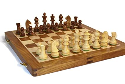 Crafts A to Z Collapsing Chess Board Set Wooden Game Handmade Classic Game of Brilliance Small Chess Pieces 6 Inches (Non - Magnetic)