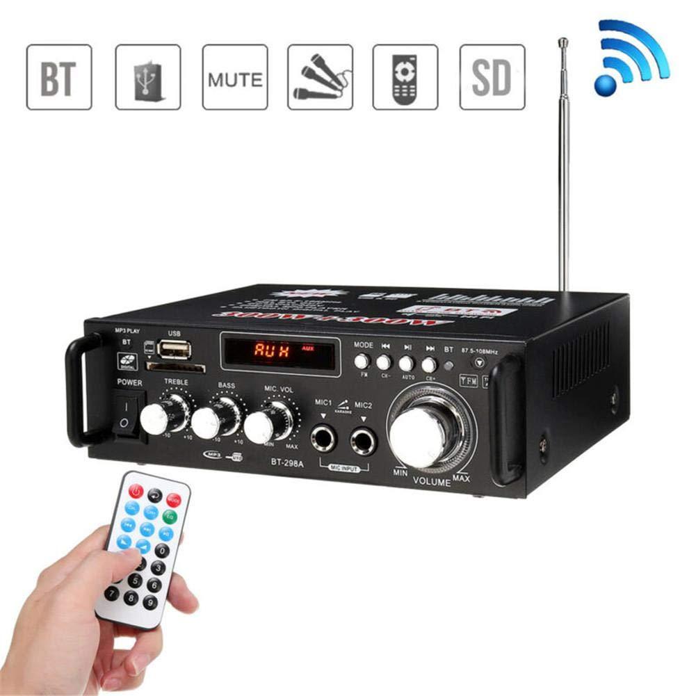 Car Home HiFi Music SD USB FM AMP 12V 220V Blue-Yan 600W Bluetooth Stereo Audio Amplifier