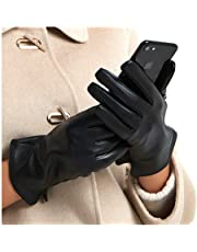 Harssidanzar Womens Luxury Italian Leather Gloves Vintage Finished Cashmere Wool Lined