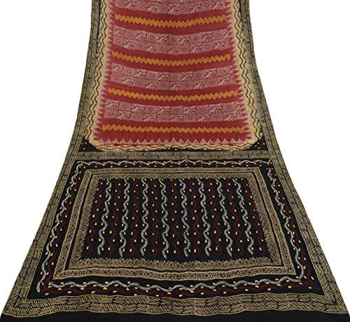 Sari 5yd Saree D'epoca Mestiere Ricamata Pura Seta Pellerossa Fabric Rosso Antico Vintage WwSqp78x
