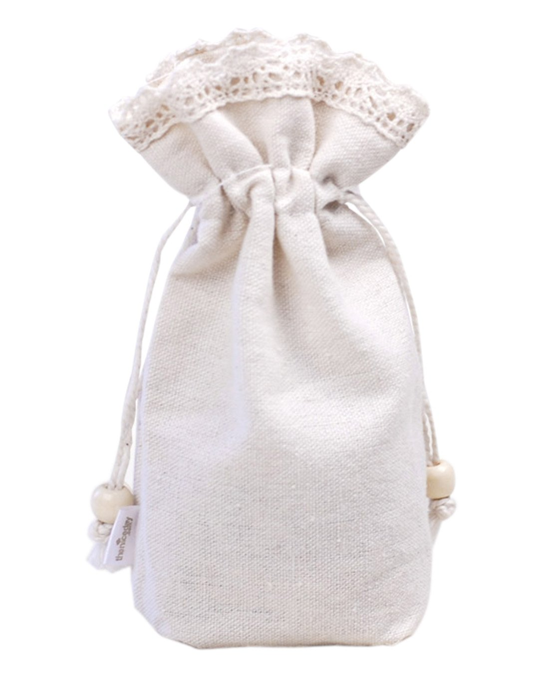 autulet Cool Drawstring Bags Girls Drawstring Bag White Cotton Party Wedding Lace Bags 50Pieces