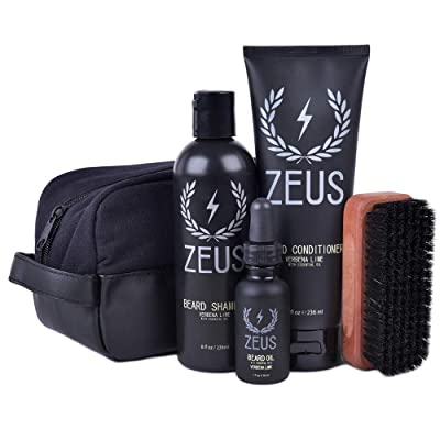 Zeus Deluxe Beard Care Dopp Kit - Men's Travel Beard Grooming Set with Toiletry Bag! (Verbena Lime)