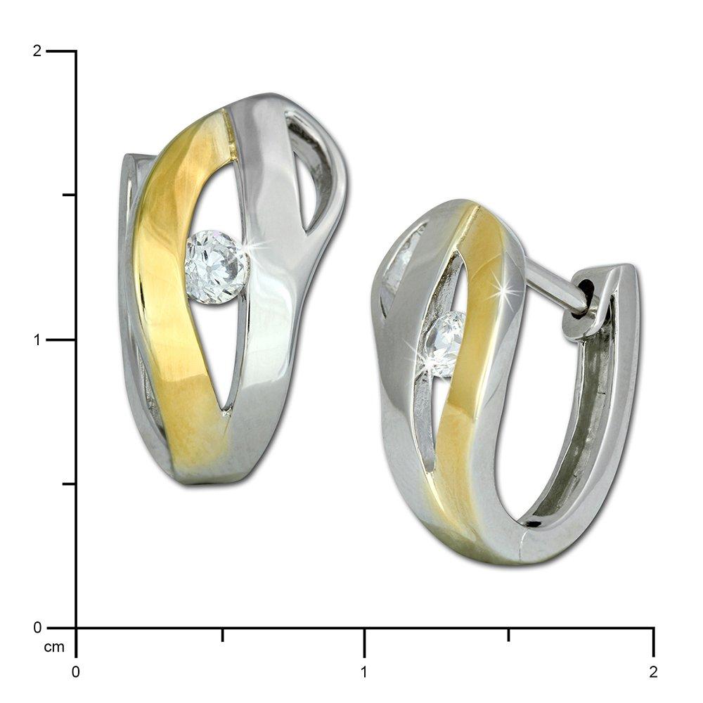 NEU Creole 2-farbige Ohrringe Glitzer bicolor Creolen 925 echt Silber Gold