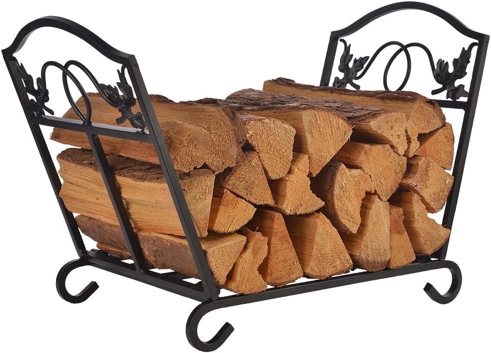 Patio Guarder Firewood Log Holder Wrought Iron Indoor Fireplace Wood Stove Stacking Rack Logs Bin Firewood Storage Carrier for Outdoor Fireplace Pit Decorative Black