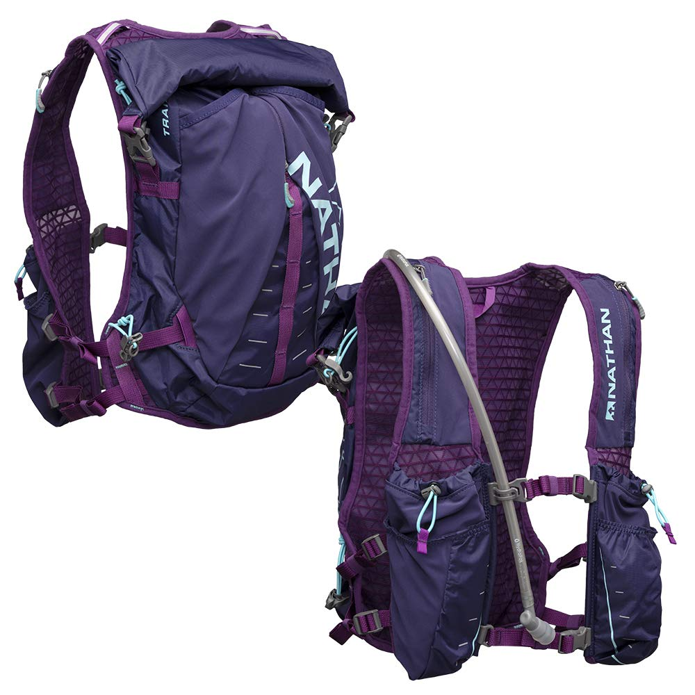 Nathan TrailMix Women's Running Vest/Hydration Pack. 12L (12 Liters) | 2L Bladder Included (2 liters). Zipper, Pocket (Astral Aura/Majesty/Blue Radiance, One Size Fits Most)