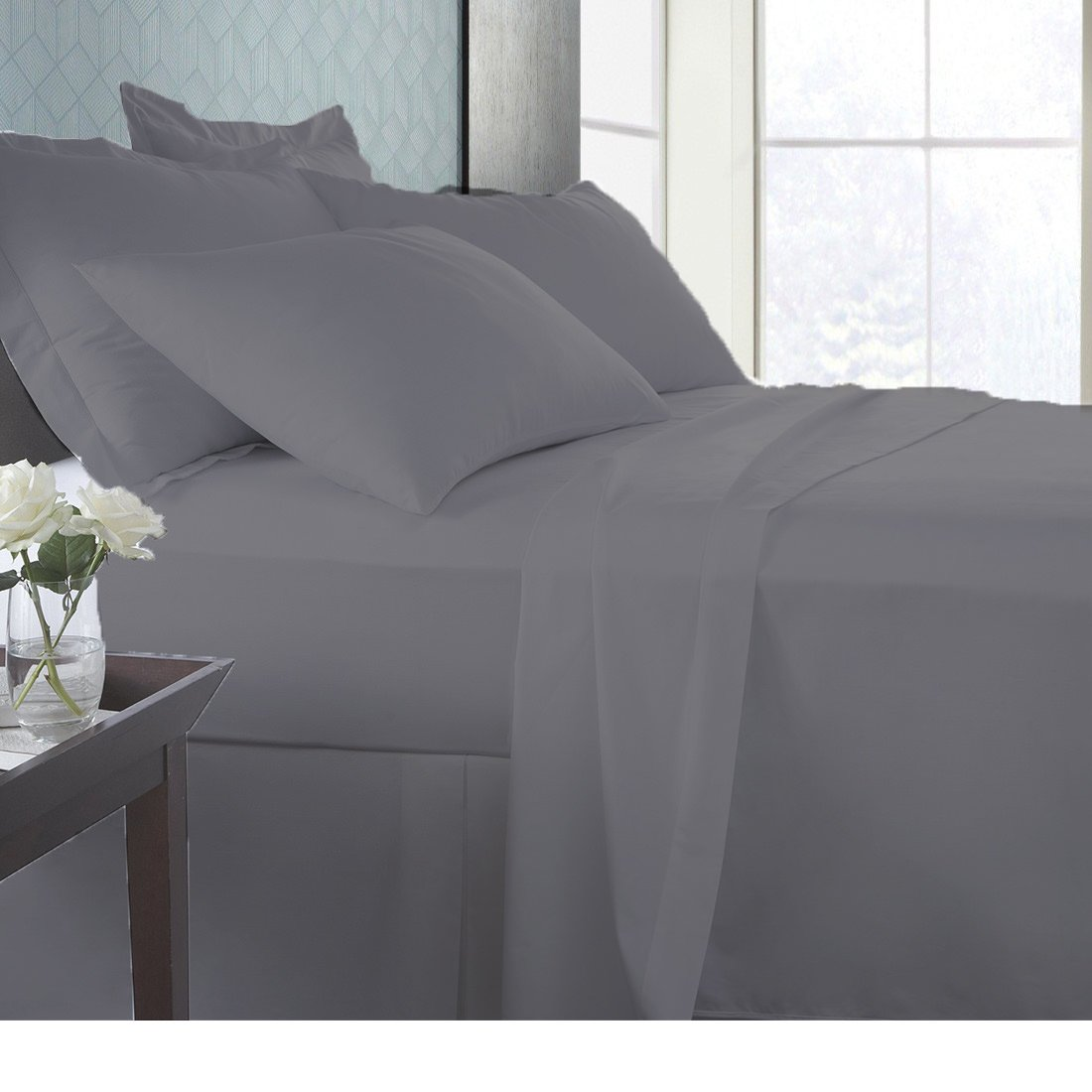 AMERICA BEDDING 100% Premium HOTEL LIKE Quality Soft EGYPTIAN Cotton Fade-Resistant ITALIAN FINISH MADE IN USA Sheet Set 600 TC Fits Up to 24 Inches Deep Pocket Solid (Queen, Elephant Grey)