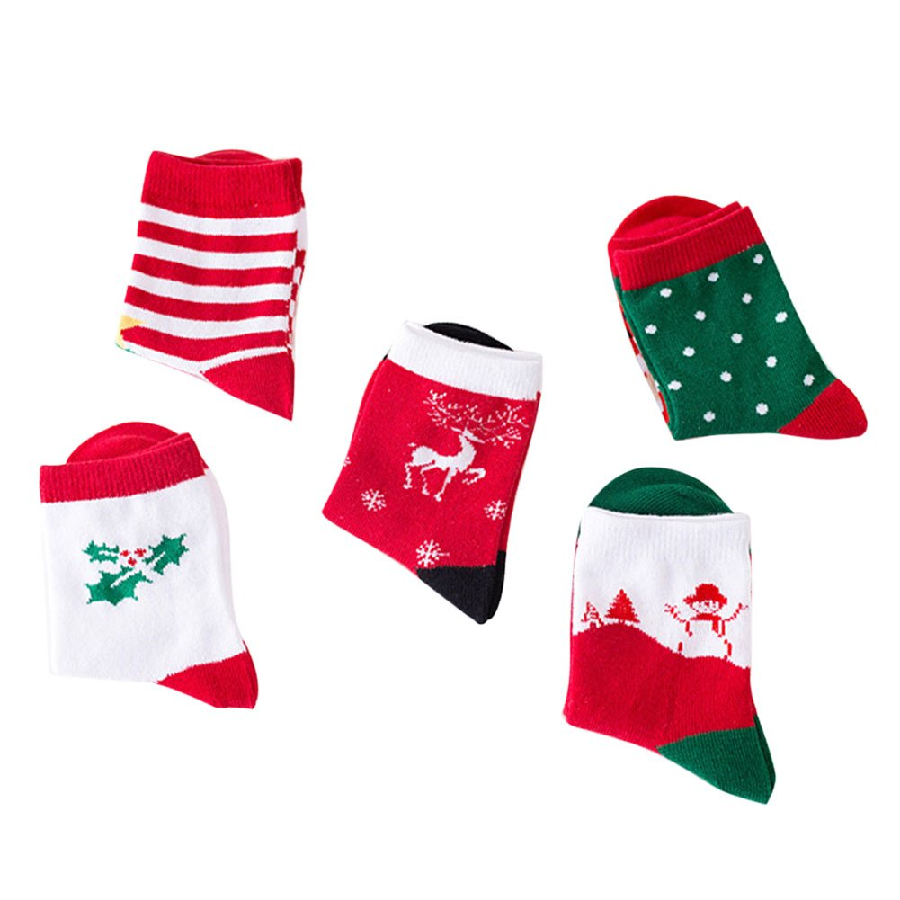 Misscat 5pairs Baby Kids Christmas Holiday Toddler Childrens Socks