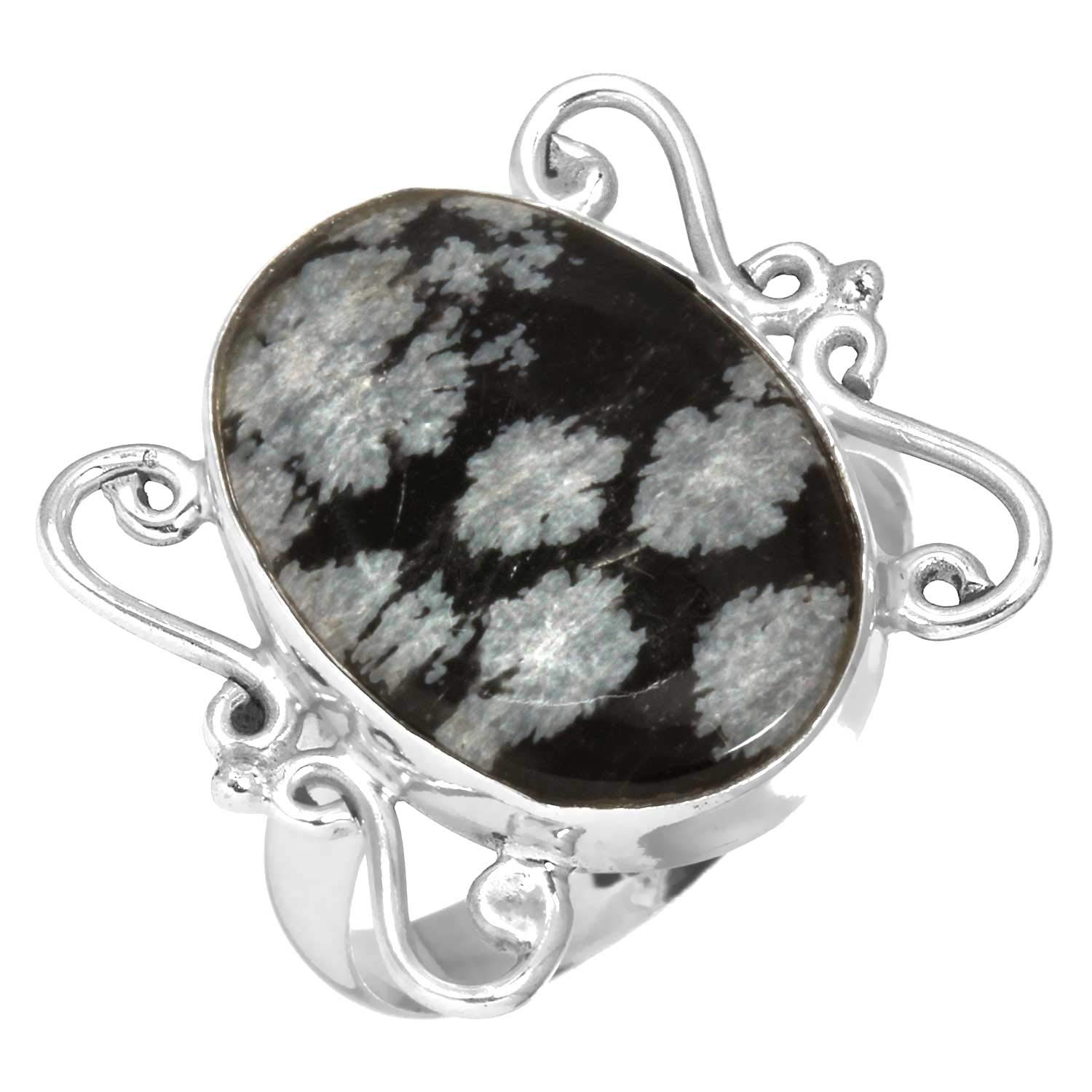 Solid 925 Sterling Silver Ring Natural Snowflake Obsidian Gemstone Designer Jewelry Size 9.5