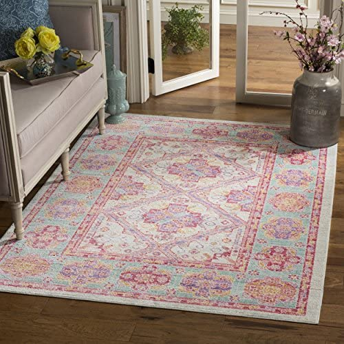 Safavieh Windsor Collection WDS315S Spa and Fuchsia Vintage Distressed Bohemian Area Rug 3 x 5