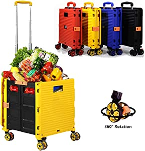 Foldable Utility Cart Folding Portable Rolling Crate Handcart Shopping Trolley Wheel Box with Lid Wear-Resistant Noiseless 360°Rotate Wheel for Travel Shopping Moving Storage Office Use (Yellow)