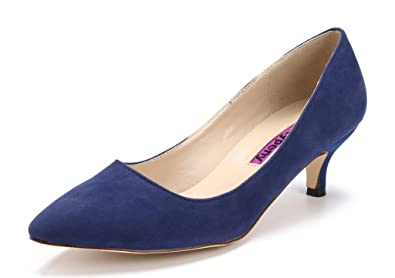 Katypeny Women's Vintage Shallow Mouth Slip On Pointed Toe Stiletto Mid  Heel Pump Shoes Blue Suede
