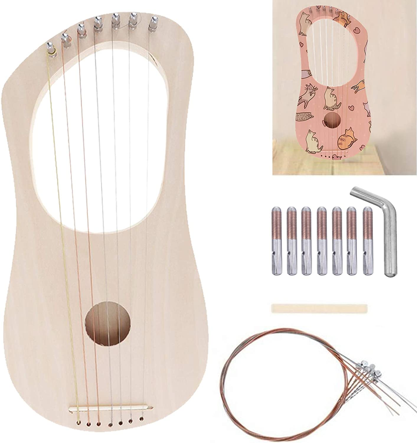 Lyre Harp 7 String DIY Kit Ancient Style Lyres Wood String Instrument Lyre Harp Making Material Kit Bass Wood with String Post String Saddle Tuning Wrench for Kids and Adults