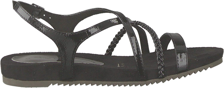 Tamaris 1-1-28106-22 Femme Sandale à lanières,Sandales,Sandales à lanières,Chaussures d\'été,Confortable,Plat,Touch-IT Black Patent
