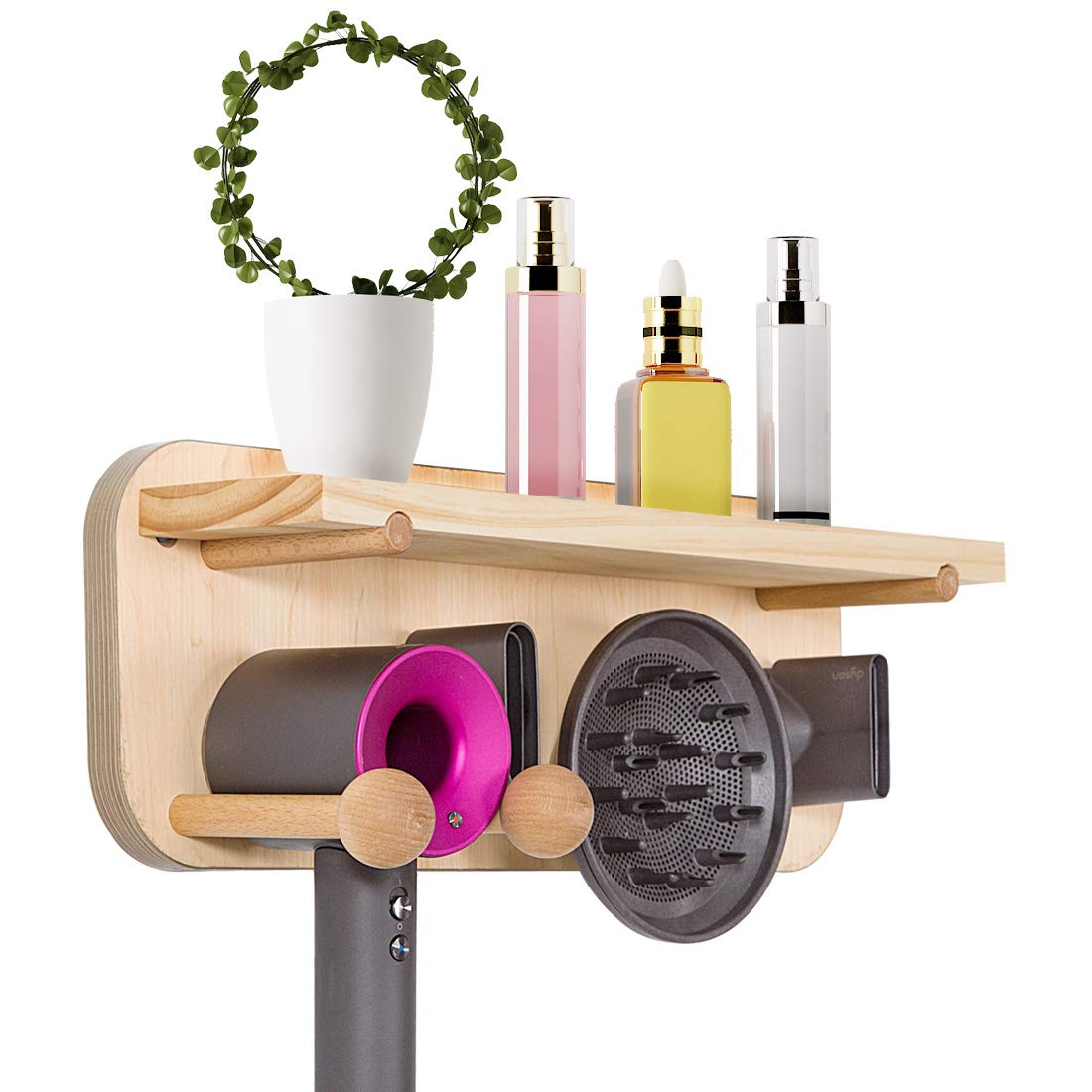 Voglee Dyson Hairdryer Holder with Storage Function, Wooden Hair Dryer Organizer Wall Mounted for Dyson Supersonic Hair Dryer, Diffuser and Two Nozzles
