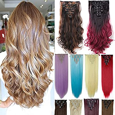 3-5 Days Delivery 8Pcs 18 Clips 17-26 Inch Curly Straight Full Head Clip in on Hair Extensions Hairpiece 27colors