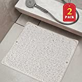 Loofah Drain Away Bath Mat Adds Non-Slip Traction to Tubs & Showers with 6 Big Suction Cups for Bathroom, Set of 2 Antibacterial Lemon Perfume Bath Mat, Machine Washable (Clear, 20'' X 20'')