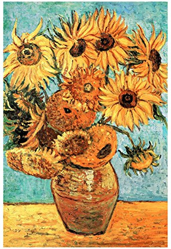 Vincent Van Gogh (Vase with Twelve Sunflowers ) Art Poster Print 13 x 19in with Poster Hanger