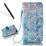 Leecase Newest Popolar Elegant 3D Creative Blue Mandala Flower Pattern Design Protective Case With Hand Wrist Strap Magnetic Clasp Closure Foldable Book Style Bumper for iPhone 6S Plus/6 Plus 5.5''