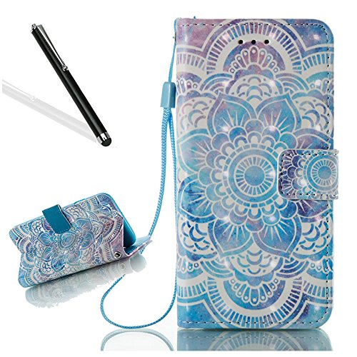 Leecase Newest Popolar Elegant 3D Creative Blue Mandala Flower Pattern Design Protective Case With Hand Wrist Strap Magnetic Clasp Closure Foldable Book Style Bumper for iPhone 6S Plus/6 Plus 5.5'' by Leeook