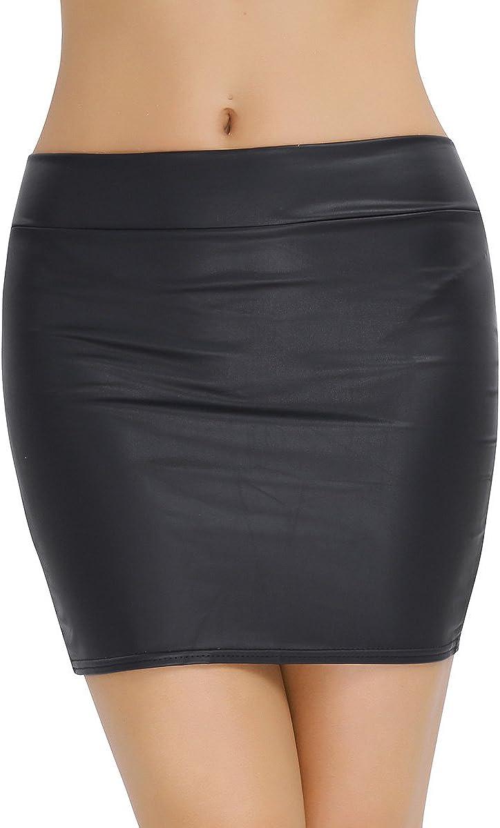 TiaoBug Mujer Falda Básica Recta de Tiro Alto Mini Falda de Imitación de Cuero Negro Clásica Cintura Alta Atractiva Talla Grande XXXL